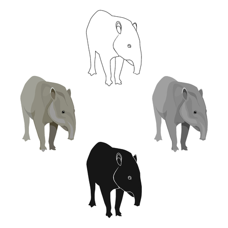 Mexican tapir icon in cartoon,black style isolated on white background. Mexico country symbol stock vector illustration. Illustration