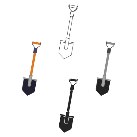 Shovel icon in cartoon,black style isolated on white background. Mine symbol stock vector illustration.