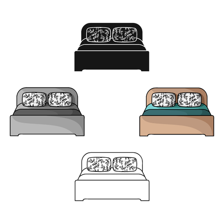 Wooden double bed icon in cartoon,black style isolated on white background. Furniture and home interior symbol stock vector illustration. Illustration