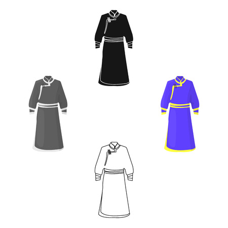 Blue Bathrobe of Mongolians.Fragment nominalnog clothes of Mongolia.Mongolia single icon in cartoon,black style vector symbol stock illustration.