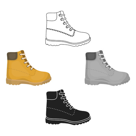 Hiking boots icon in cartoon,black style isolated on white background. Shoes symbol stock vector illustration.