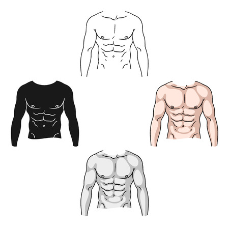 Muscular torso icon in cartoon,black style isolated on white background. Sport and fitness symbol stock vector illustration.