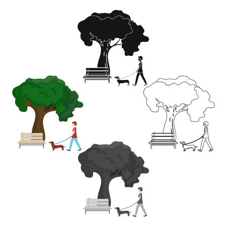 Tree and bench, woman walks a pet in the park. Pet ,Dog care single icon in cartoon,black style vector symbol stock illustration web.
