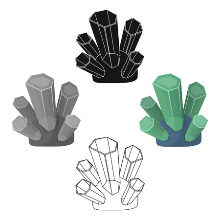 Green natural minerals icon in cartoon,black style isolated on white background. Precious minerals and jeweler symbol stock vector illustration. Vecteurs