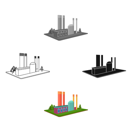Processing factory. Factory and industry single icon in cartoon,black style isometric vector symbol stock illustration web.