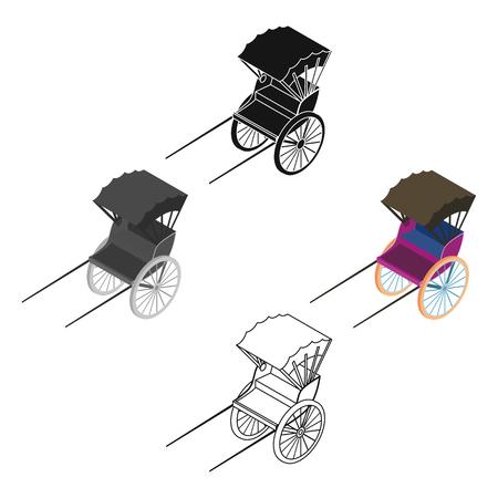 Rickshaw icon in cartoon,black style isolated on white background. Transportation symbol stock vector illustration.