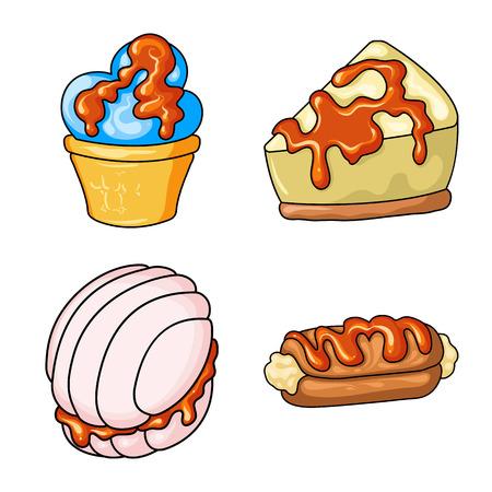 Na białym tle obiekt deser i słodkie ikony. Zestaw deser i ikona wektor żywności na magazynie.