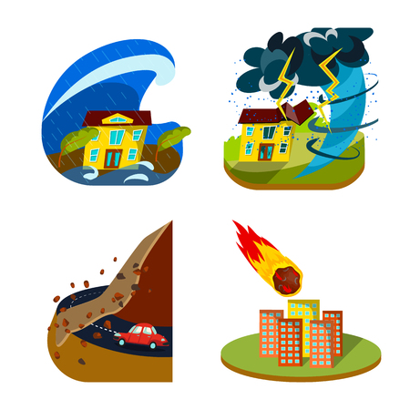 Isolated object of cataclysm and disaster. Collection of cataclysm and apocalypse  stock vector illustration.