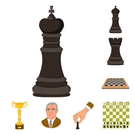 Vector design of chess and game symbol. Collection of chess and strategy stock vector illustration. Illustration