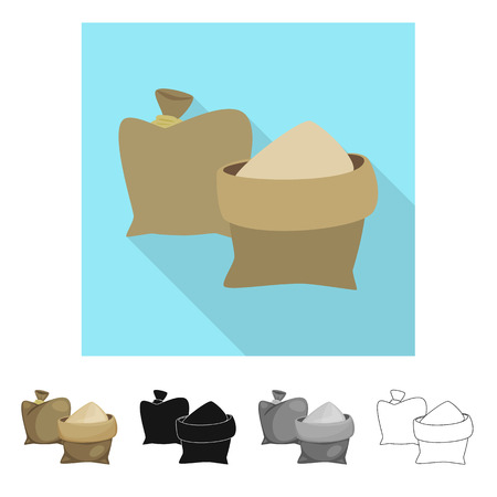 Isolated object of bag  and sand. Collection of bag  and brown  stock vector illustration.