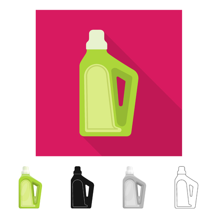 Isolated object of household and chemicals icon. Collection of household and bottle  stock symbol for web.