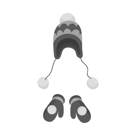 Isolated object of beanie  and mitten logo. Set of beanie  and ornament  vector icon for stock.