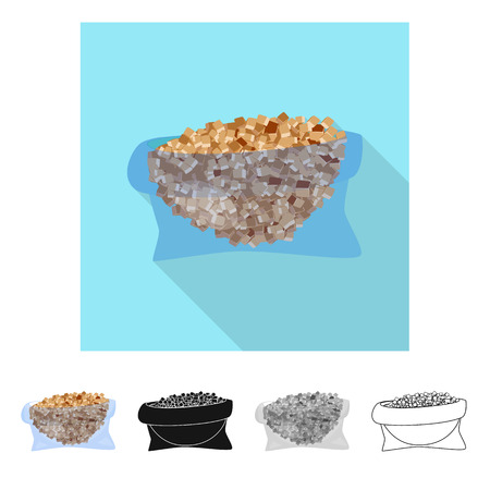Vector illustration of piece and granulated logo. Collection of piece and jaggery stock symbol for web.