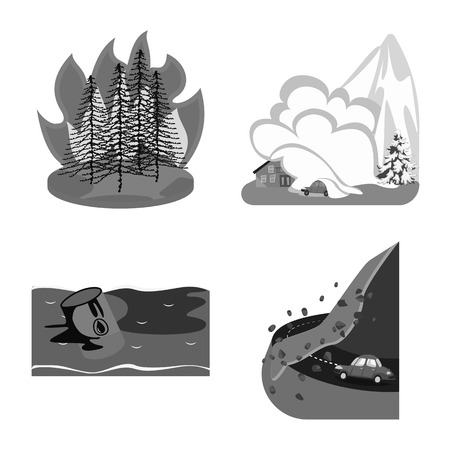 Vector illustration of nature and apocalypse  icon. Set of nature and environment  vector icon for stock.