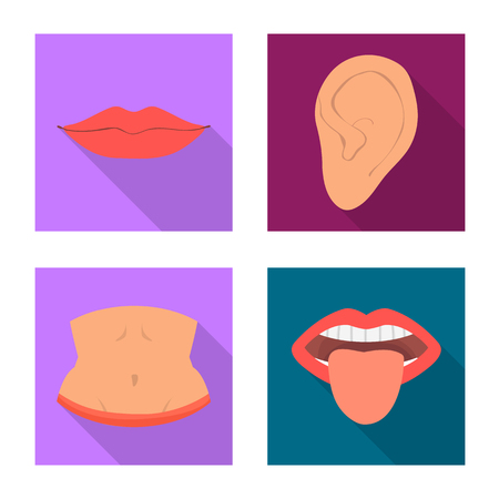Isolated object of body and part sign. Set of body and anatomy stock vector illustration.