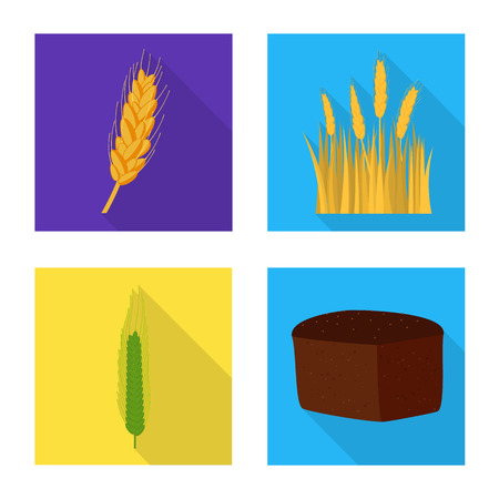 Vector illustration of wheat and corn icon. Collection of wheat and harvest stock vector illustration.