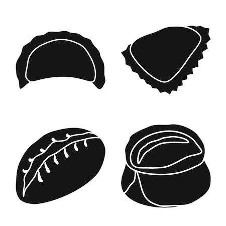 Vector design of cuisine  and appetizer sign. Set of cuisine  and food  stock vector illustration. Ilustração