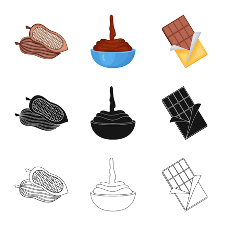 Vector design of food and yummy icon. Collection of food and brown   stock vector illustration. Standard-Bild - 123669670
