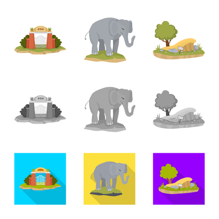 Vector design of nature  and fun  sign. Set of nature  and entertainment stock symbol for web.