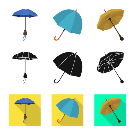 Vector design of protection and closed sign. Collection of protection and rainy stock symbol for web. Çizim