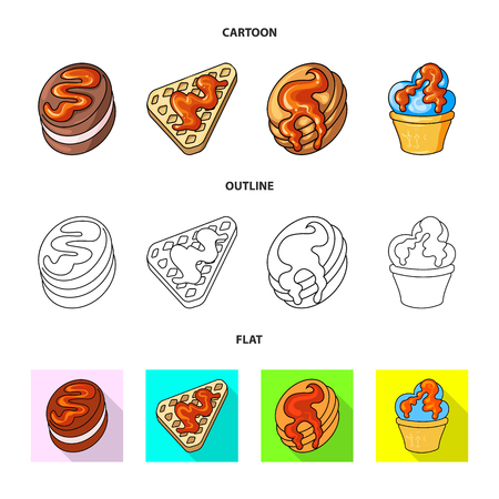 Vector illustration of confectionery and culinary sign. Set of confectionery and product stock vector illustration. Векторная Иллюстрация