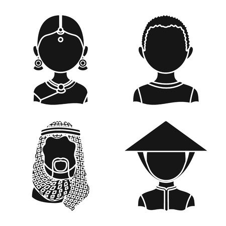 Vector design of person and culture sign. Set of person and race  stock symbol for web.