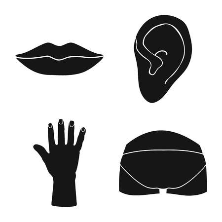 Isolated object of body and part symbol. Set of body and anatomy vector icon for stock.