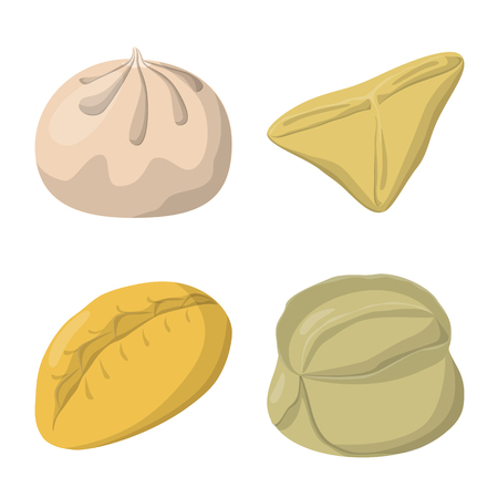 Isolated object of dumplings and food  logo. Set of dumplings and stuffed stock symbol for web.