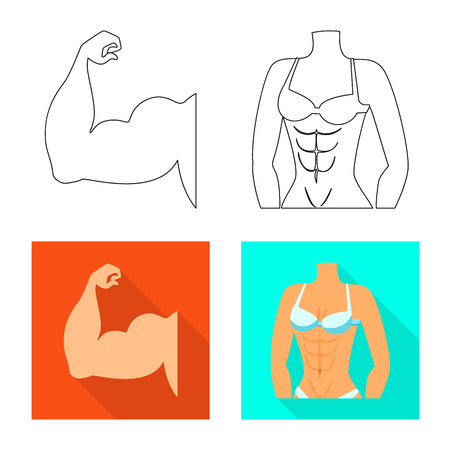 Vector design of fiber and muscular logo. Set of fiber and body  stock symbol for web.