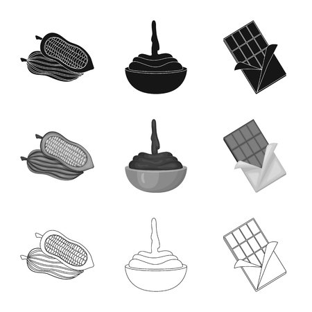 Isolated object of food and yummy sign. Collection of food and brown   vector icon for stock. Standard-Bild - 123823278