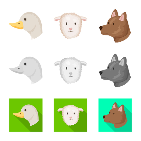 Isolated object of agriculture and breeding icon. Collection of agriculture and organic  stock vector illustration.