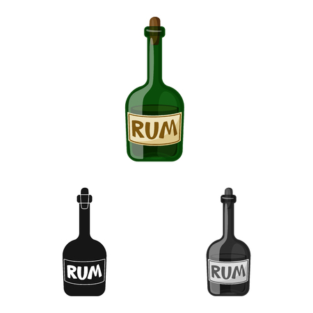 Vector design of rum and bottle sign. Collection of rum and glass vector icon for stock. Иллюстрация