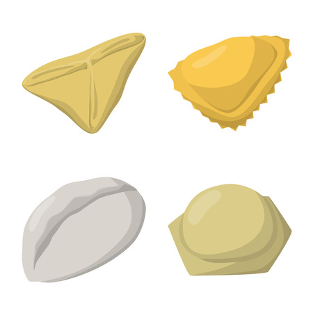 Isolated object of dumplings and food  icon. Collection of dumplings and stuffed vector icon for stock.