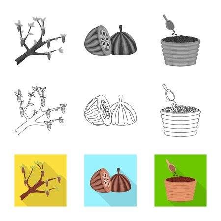 Isolated object of food and yummy symbol. Set of food and brown   stock vector illustration. Standard-Bild - 123864926