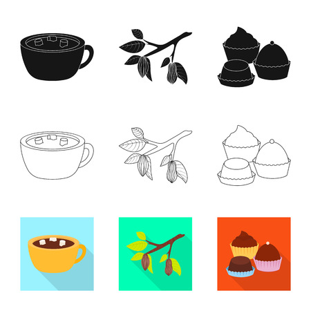 Vector illustration of food and yummy symbol. Set of food and brown   stock vector illustration.