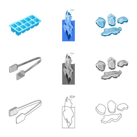 Vector design of texture and frozen icon. Set of texture and transparent stock symbol for web. Vektoros illusztráció