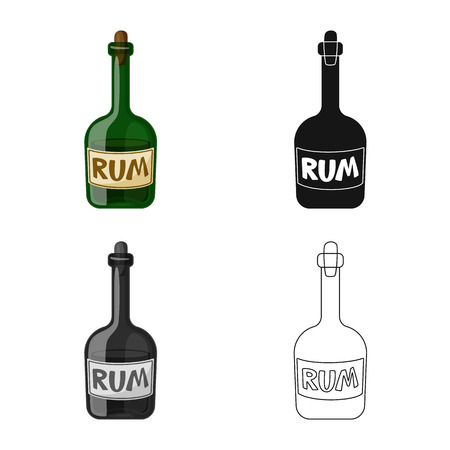Vector design of rum and bottle sign. Set of rum and glass stock symbol for web. Иллюстрация