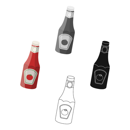 A bottle of ketchup.BBQ single icon in cartoon,black style vector symbol stock illustration web. Illustration
