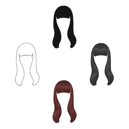 Dark long.Back hairstyle single icon in cartoon,black style vector symbol stock illustration web.