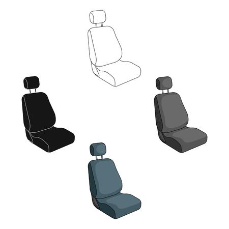Car seat.Car single icon in cartoon,black style vector symbol stock illustration web. Vettoriali