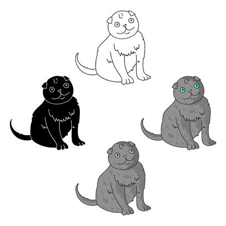 Scottish Fold icon in cartoon,black style isolated on white background. Cat breeds symbol stock vector illustration.