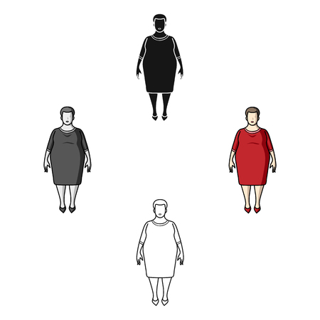 Fat woman in a red dress.A fat woman because of diabetes.Diabetes single icon in cartoon,black style vector symbol stock illustration.