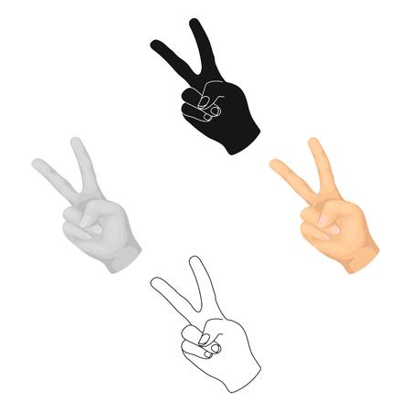 Peace symbol gesture.Hippy single icon in cartoon,black style vector symbol stock illustration web.  イラスト・ベクター素材