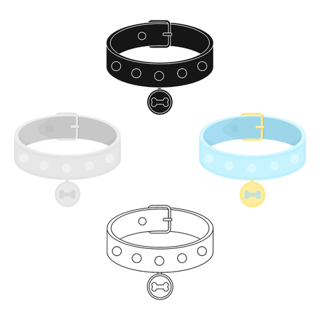Dog collar vector icon in cartoon,black style for web