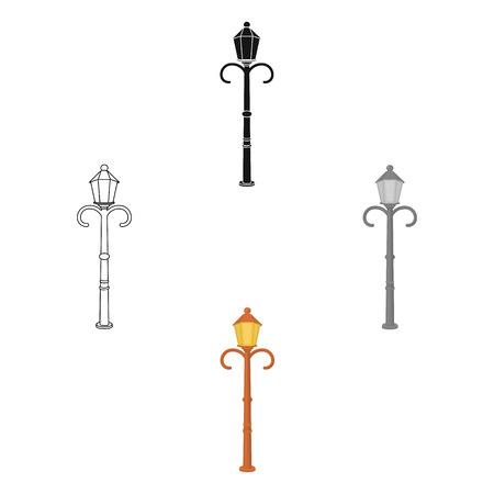 Street lights in retro style. Lamppost single icon in cartoon,black style vector symbol stock illustration web.