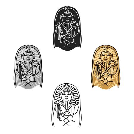 Egyptian pharaoh sarcophagus icon in cartoon,black style isolated on white background. Museum symbol stock vector illustration. Illustration