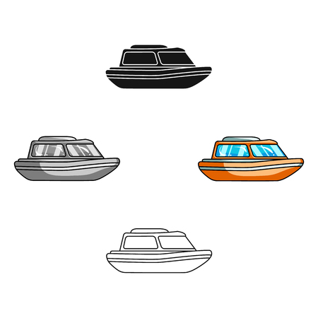 Orange rescue boat.Boat to rescue the drowning persons.Ship and water transport single icon in cartoon,black style vector symbol stock illustration. Illustration