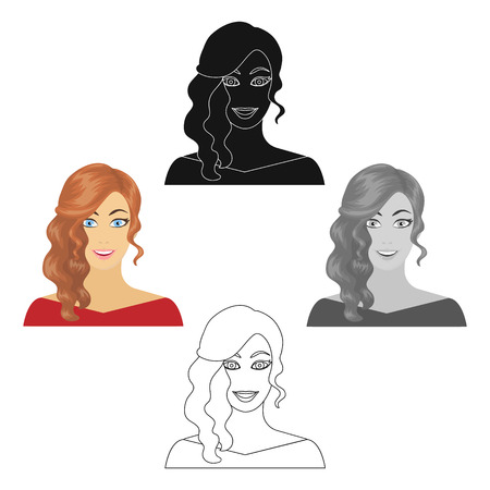 The face of a woman with a hairdo. Face and appearance single icon in cartoon,black style vector symbol stock illustration web.
