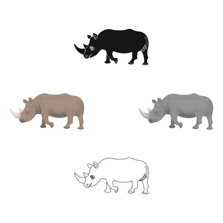A large Indian rhinoceros. A wild animal, a rhinoceros single icon in cartoon,black style vector symbol stock illustration web.  イラスト・ベクター素材