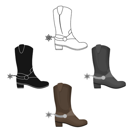 Cowboy s boots icon in cartoon,black style isolated on white background. USA country symbol stock vector illustration.